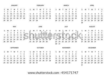 Illustration of a 2017 Calendar - stock vector