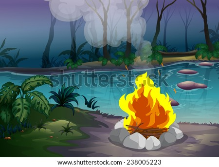 Illustration of a campfire in a dark forest - stock vector