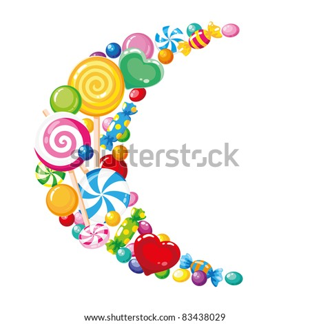 illustration of a candy moon white - stock vector