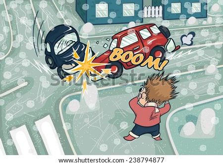 Illustration of a car accident at the crossroads. Crash and frightened man at the crossroads. Illustration of winter crash. Snowfall and sleet. - stock vector