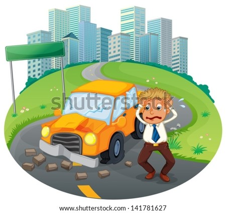 Illustration of a car accident at the road near the high buildings on a white background - stock vector