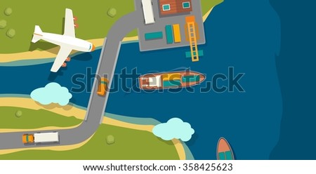 Illustration of a cargo port in flat vector style. Top view. Ship, harbor, sea, boat, crane, dock, airplane and track. For horizontal banner industry shipping transport. - stock vector