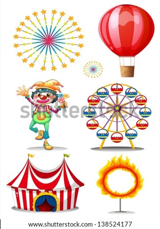 Illustration of a carnival with clown on a white background - stock vector