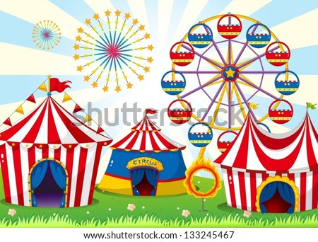 Illustration of a carnival with stripe tents - stock vector