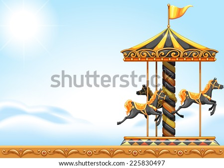 Illustration of a carousel ride - stock vector