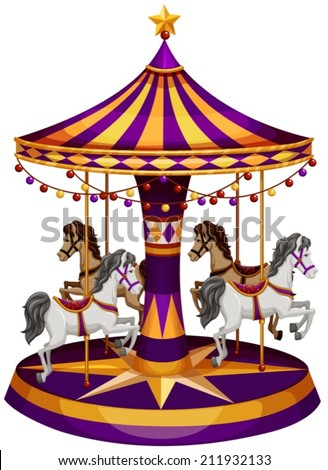 Illustration of a carrousel ride on a white background - stock vector