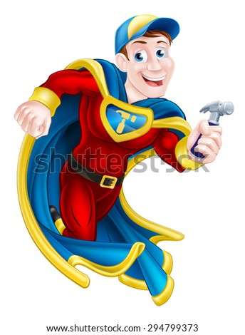 Illustration of a cartoon builder, handyman or carpenter superhero mascot holding a hammer - stock vector