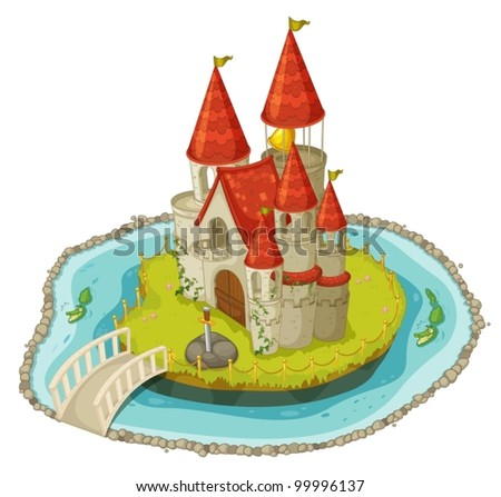 Illustration of a cartoon castle - stock vector