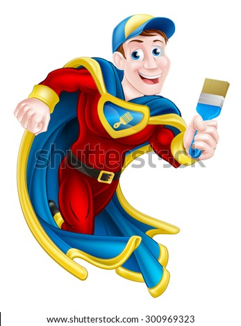 Illustration of a cartoon decorator or painter superhero mascot holding a paintbrush - stock vector