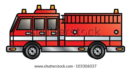 Illustration of a cartoon fire engine. Eps 10 Vector. - stock vector