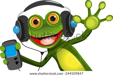 Illustration of a cartoon frog in headphones - stock vector
