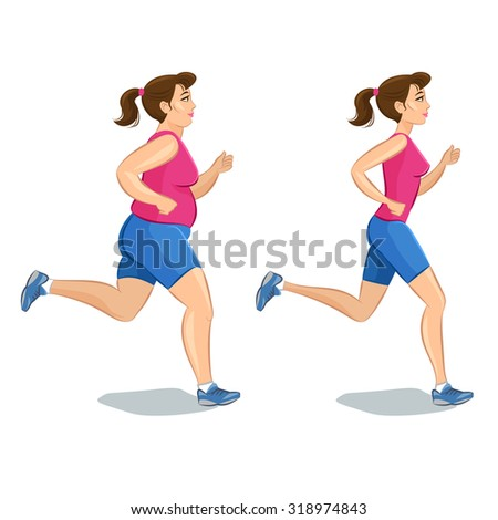Illustration of a cartoon girl jogging, weight loss concept, cardio training, health conscious concept running woman.  - stock vector