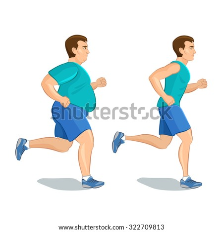 Illustration of a cartoon man jogging, weight loss concept, cardio training, health conscious concept running man, before and after  - stock vector