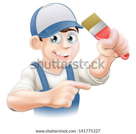 Illustration of a cartoon painter decorator in a cap pointing - stock vector