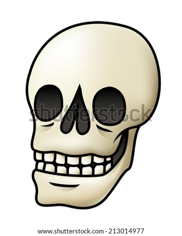 Illustration of a cartoon skull isolated on white. Eps 10 Vector. - stock vector