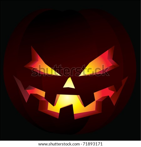 Illustration of a carved halloween pumpkin, also known as a jack-o'-lantern, illuminated from within. - stock vector