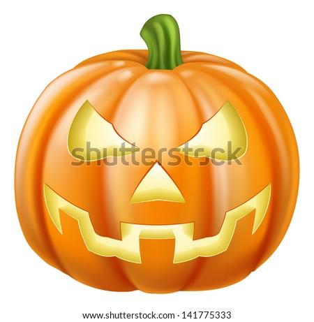 Illustration of a carved Halloween pumpkin or jack o' lantern - stock vector