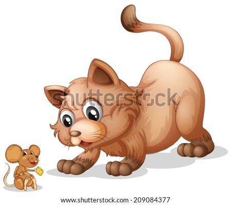 Illustration of a cat and a mouse - stock vector