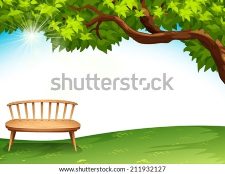 Illustration of a chair near the tree - stock vector