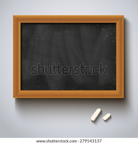 Illustration of a chalkboard and chalks - stock vector