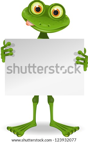 illustration of a cheerful frog with a white paper - stock vector