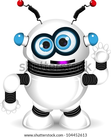 illustration of a cheerful robot with antennas - stock vector