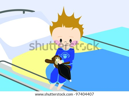 Illustration of a child getting prepared for surgery. All vector objects and details are isolated and grouped. This illustration is a part of a story about a child in hospital. - stock vector