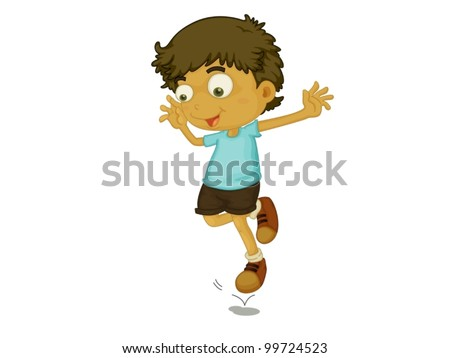 Illustration of a child jumping - stock vector