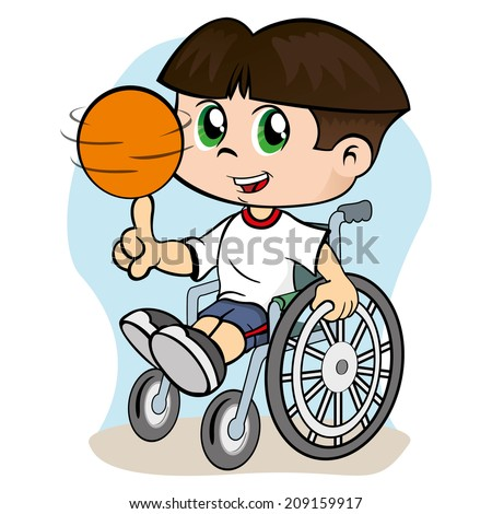 Illustration of a child with special needs in a wheelchair practicing sport  - stock vector