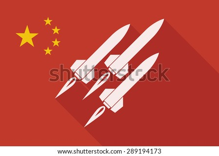 Illustration of a China long shadow flag with missiles - stock vector