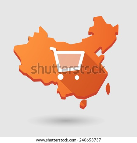 Illustration of a China map icon with a shopping cart - stock vector