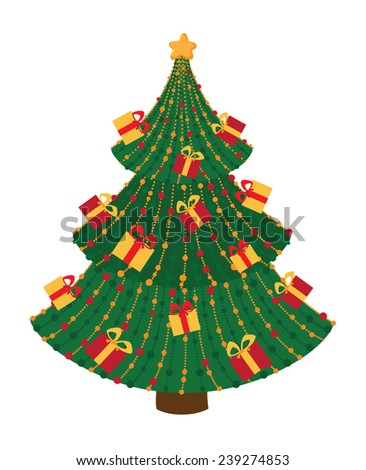 illustration of a Christmas tree with gifts - stock vector