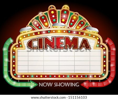 illustration of a Cinema sign with two arrows. - stock vector
