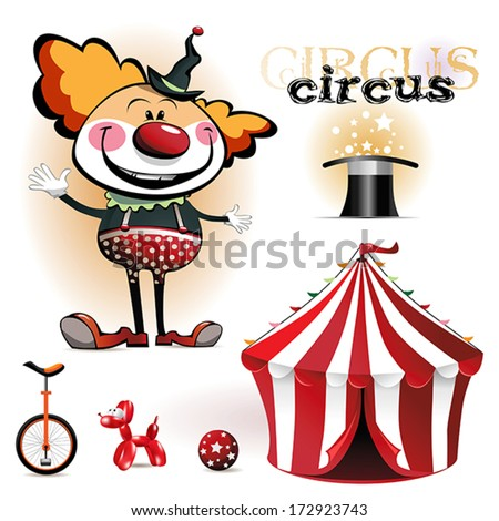 Illustration of a circus tent, clowns - stock vector