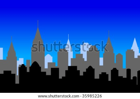 Illustration of a city skyline, at night - stock vector