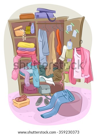 Illustration of a Closet Overflowing with Clutter - stock vector