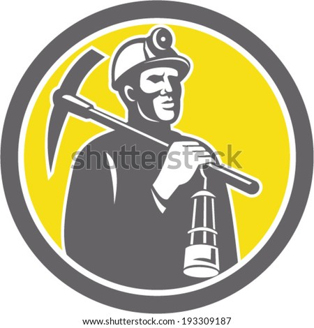 Illustration of a coal miner hardhat with crossed pick axe and lamp inside a circle done in retro style. - stock vector