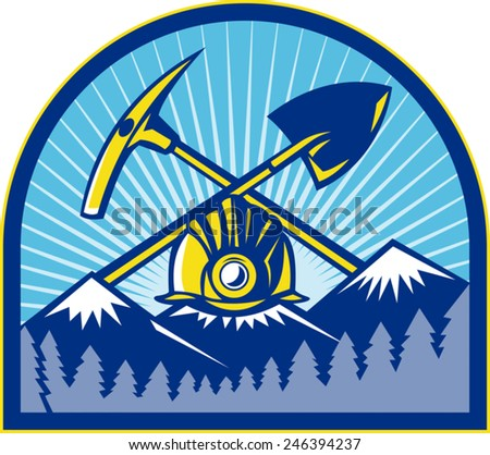 Illustration of a coal miner hardhat with crossed pick axe and spade shovel sitting on top of snow capped mountain ranges with trees in foreground and sunburst in background done in retro style. - stock vector