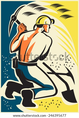 Illustration of a coal miner mining digging with pick ax inside mine done in retro style. - stock vector