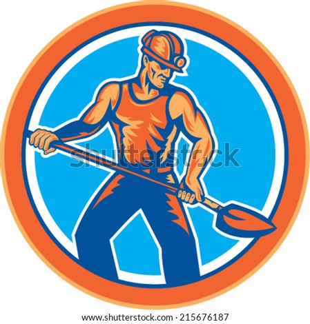 Illustration of a coal miner with hardhat on holding shovel set inside circle on isolated backgorund done in retro style. - stock vector