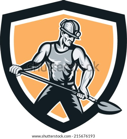 Illustration of a coal miner with hardhat on holding shovel set inside shield crest on isolated backgorund done in retro style. - stock vector
