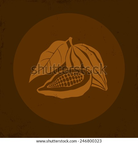 Illustration of a Cocoa bean in brown background - stock vector