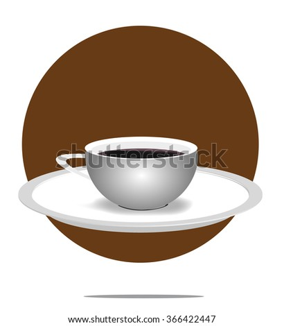 Illustration of a coffee cup with brown circle background - stock vector