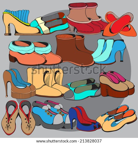 Illustration of a collection of various shoes. ?olor version - stock vector