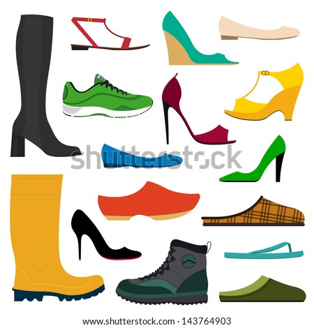 Illustration of a collection of various shoes on white background - stock vector