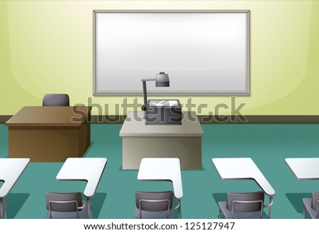 Illustration of a  college classroom - stock vector