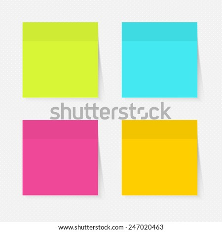 Illustration of a colored set of sticky notes - stock vector