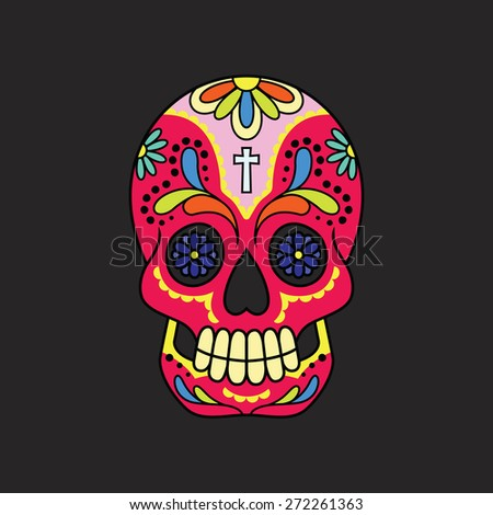 Illustration of a colorful calavera (mexican sugar skull) against a black backdrop. Eps 8 Vector. - stock vector