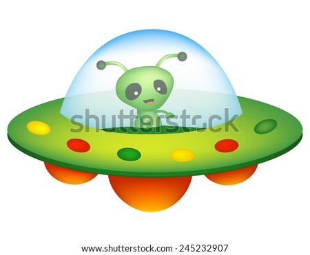 Illustration of a colorful cartoon UFO / unidentified flying object with a happy smiling alien inside isolated on white background  - stock vector