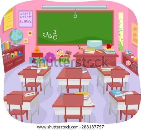 Illustration of a Colorful Preschool Classroom - stock vector